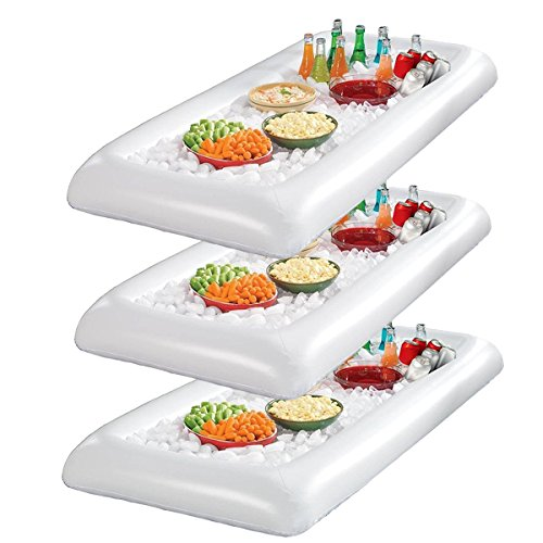 Infltable Buffet Serving & Salad Bar Ice Buckets Food Cooler Inflatable Beer Drink Tray,Food Drink Holder BBQ Picnic Pool,with Drain Plug (3 Pack)