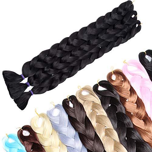 104cm-Treccine Africane Extension 3 Pezzi Capelli Finti per Treccia Extension Trecce Lunghe Braiding Hair–Nero Scuro