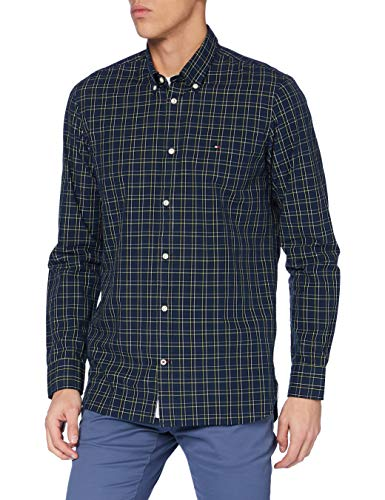 Tommy Hilfiger Herren Slim Small Tartan Check Shirt Hemd, Night Sky/Multi, M