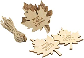 10pcs Wooden Leaf Craft Hanging Embellishments DIY Ornaments Happy Thanks Giving Maple Leaf Decorations Thanksgiving Wooden Gift Tags with String