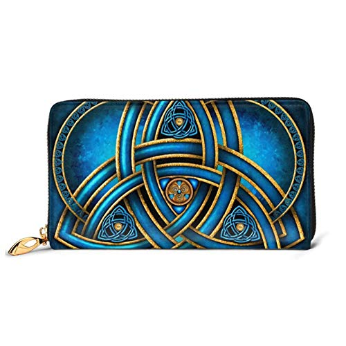 Celtic Blue And Gold Triquetra Leather Wallet Cosplay Purse Notecase Card Holder Long Wallet Coin Purse Handbags For Men Women Kids Gift (both sides are the same)