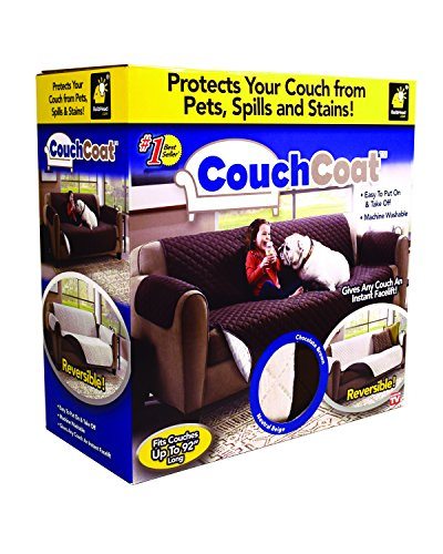 Couch Coat Reversible Microfiber Couch Cover by BulbHead, the Easy Furniture Protector from Pets, Dogs, and Kids