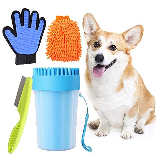 Limpia Patas Perro Portátil,Taza de Limpieza para Mascotas,Limpiador Patas Perro Mascota,Peine de Pulgas para Perros,Peine De Pulgas,Guante de Microfibra,Cepillo Guante