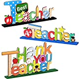 3 Pieces Teacher Table Toppers Ornaments Best Teacher and Thank You Teacher Wooden Centerpiece Sign Table Decorations for Graduation Back to School