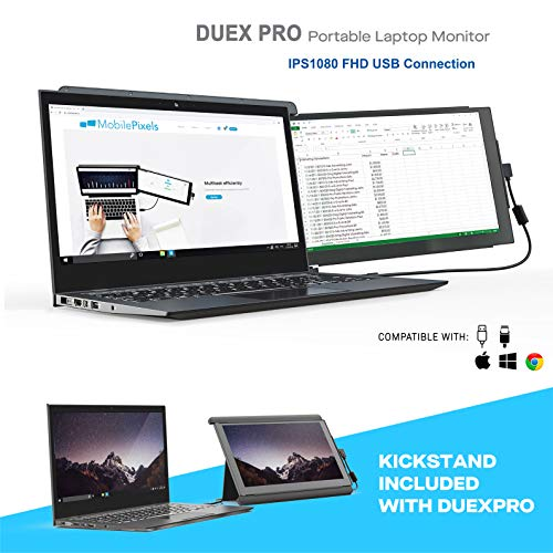"""Mobile Pixels Duex Pro Portable Monitor for Laptops 12.5"""" Full HD IPS USB A/Type-C USB The On-The-Go Dual-Screen Monitor, Plug and Play (Duex Pro with Kickstand)"""