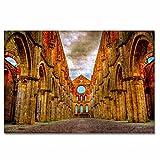 Italia Abadía de San Galgano Toscana Rompecabezas para Adultos, 300 Piezas, Rompecabezas de Madera para niños, Regalo de Viaje, Recuerdo, 16.5 × 12 Pulgadas