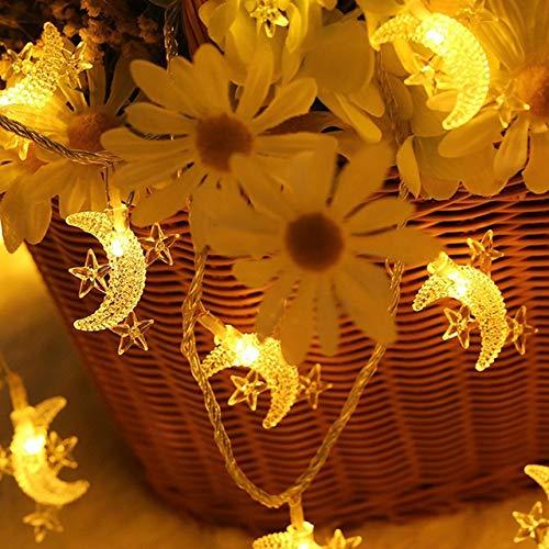 LANDUA Alimentado por batería 4M LED de la Estrella de la Luna Hada Garland Cadena Luces de Navidad Año Nuevo Boda Home luz de la decoración Interior