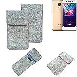 K-S-Trade® Handy Schutz Hülle Für Coolpad Cool S1 Schutzhülle Handyhülle Filztasche Pouch Tasche Hülle Sleeve Filzhülle Hellgrau Roter Rand
