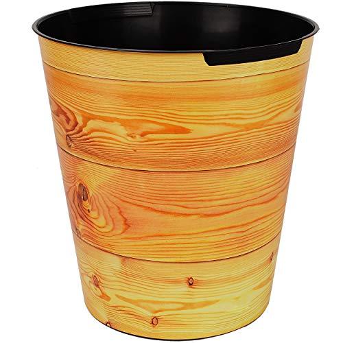 Papierkorb / Behälter - Holz - Holzoptik & Holzbretter - 10 Liter - wasserdicht - aus Kunststoff - Ø 28 cm - großer Mülleimer / Eimer - Abfalleimer - Aufbewah..