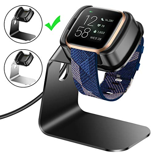 CAVN Compatibel met Fitbit Versa 2 Oplader (niet voor Versa & Versa Lite), Premium Aluminium Vervangende Oplader Dock Oplader Stand Oplader Kabel Station voor Fitbit Versa 2 Smartwatch
