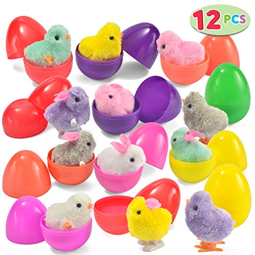 JOYIN 12 Toys Filled Easter Eggs, Assorted Prefilled 12 Easter Eggs with 12 Wind-Up Cute and Colorful Bunnies and Chicken Toys