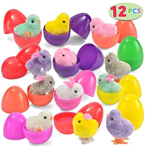 JOYIN Juguetes a Cuerda con 12 conejitos y Juguetes de Pollo Lindos y Coloridos Huevos de Pascua Rellenos de Juguetes, Surtidos y precargados 12 Huevos de Pascua