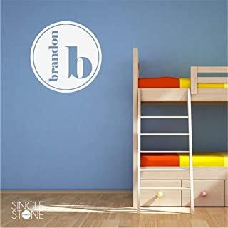 mioawn Motivational Wall Sticker Quotes Modern Circle Monogram Personalized Name with Letter for Nursery Kids Room Boys Girls Room - coolthings.us