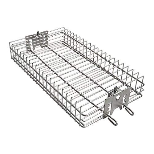 """only fire 6042 Chrome Plating Steel Flat Spit Rotisserie Grill Basket Fits 1/2"""" Hexagon, 3/8' Hexagon, 3/8' Square & 5/16' Square Spit Rods for Any Grill"""