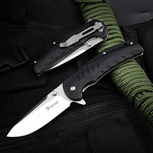 NedFoss Einhandmesser Klappmesser- handlich & Kugelgelagert, Tolles Taschenmesser mit rutschfeste G-10 Griff- extra scharf