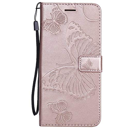 DENDICO Cover Galaxy J4 Plus, Pelle Portafoglio Custodia per Samsung Galaxy J4 Plus Custodia a Libro con Funzione di appoggio e Porta Carte di cRossoito, Modello di Farfalla - Oro Rosa