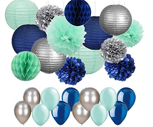 44pcs Navy Mint Green Silver, Tissue Paper Pom Poms Paper Lanterns and Latex Balloon for Boy Baby Shower, Boys Room, Nautical Wedding Bunting, First Birthday Decor Festival Party Wall Decoration