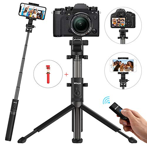 Mituyo Bluetooth Selfie Stick Tripod with Wireless Remote Shutter and Extendable Monopod Compatible with Cameras, iPhone, Samsung, Huawei, Other Smartphones (Black)
