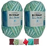 Big Ball Baby Blanket Yarn 2-Pack Bundle by Bernat Plus 6 Blanket Yarn Patterns Super Bulky #6 10.5 Ounce Ball 220 Yards (Blue Green)