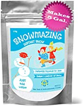 Snowmazing Instant Snow Powder, 50% More, Slime Supplies to Make Cloud Slime, Classroom Sensory Table, Holiday Décor, Artificial Fake Snow, 6oz. Makes 5 GALLONS, Just Add Water