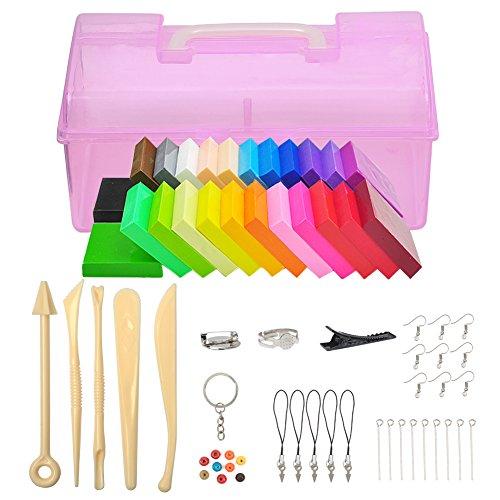 Jspoir Melodiz Polymer Clay weichen Ton/Knetmasse/Plastilin Ofen backen Lehm Crafts Moulding Set Handwerk DIY Spielzeug mit Tragkoffer pädagogisches Spielzeug für Kinder (24 Colors)