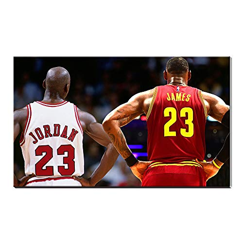 LeBron James Michael Jordan Inscribed Wings Air Jordan Gifts for Decor Sports Poster Oil Painting Canvas Prints Pictures Artwork (16x24inch frameless)