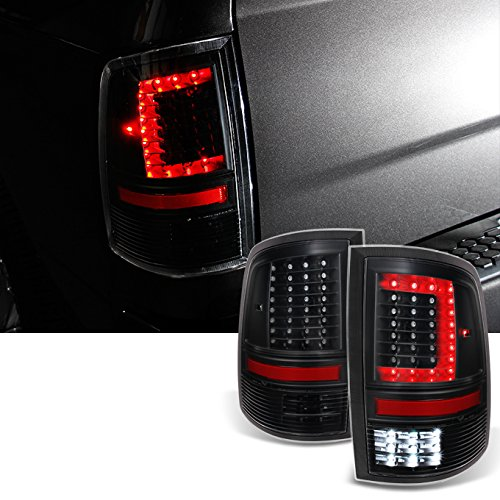 For 2009-2018 DODGE RAM 1500 | 10-18 2500 | 3500 C-Shaped Black LED Tail Lights Left + Right Side Replacement Pair Set