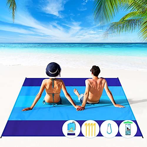 BYDOLL Beach Blanket 78''×81'' 4-7 Adults Oversized Lightweight Waterproof Sandproof Beach Blanket Large Picnic Mat Beach Blanket for Beach Travel...