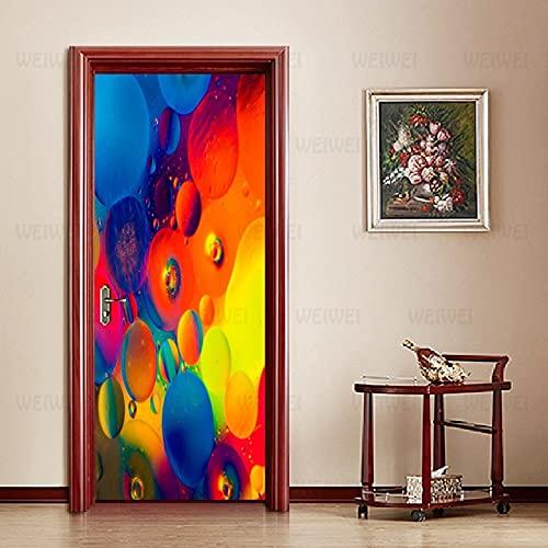 Adesivi per Porte astratti dipinti colorati Adesivi per Decalcomanie murali impermeabili autoadesivi su Porte Design per la casa A1 86x200cm