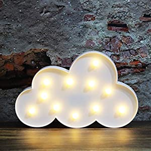 White LED Cloud Marquee Signs, Light Up Cloud Decorative Signs Hanging Hole Nursery Room Cloud Night Light for Baby Shower, Party Supply, Christmas Decor-Cloud(White)