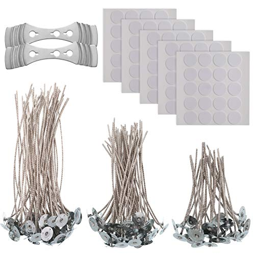 AKlamater Candle Wicks,150 Pcs Natural Long Pre Waxed Wicks and 2 Pcs Wick Holder Sustainer for DIY Candles Craft Tools Candle Making Kit