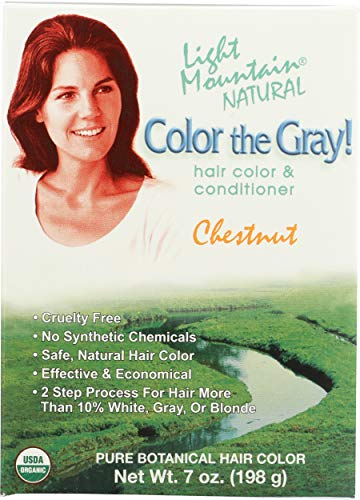 Light Mountain Natural Color The Gray! Hair Color & Conditioner, Chestnut, 7 oz (197 g) by Light Mountain