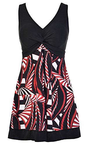 Ecupper Damen Badekleid Gepolstert Badeanzug mit Shorts Einteiler Blumen Muster Schwimmkleid Große Größen Schwarz 4XL