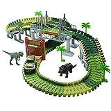 Rennbahn Autobahn Kinder Car Track mit Tracks Auto und Dinosaurier Autorennbahnen Jurassic Park Spielzeug für Kinder Jungen und Mädchen ab 3 4 5, 220CM Länge