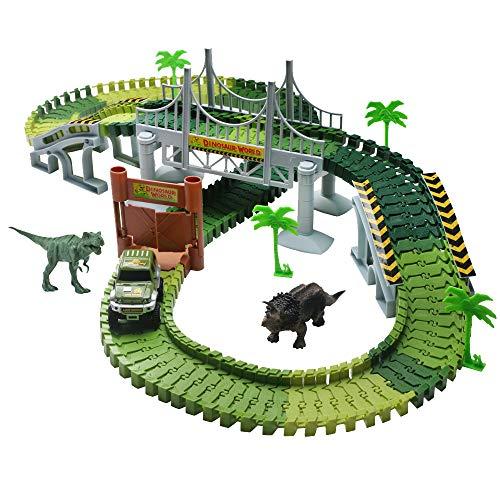 Pista Coches Flexible Juguetes con Dinosaurio Juego Electrónico para Niños Niñas 3 4 5 Años (Pista)