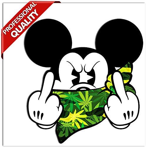 SkinoEu® 2 x STÜCK Vinyl Aufkleber Stickers AUTOAUFKLEBER Micky Maus Mickey Mouse MITTELFINGER STINKEFINGER Auto Motorrad Fenster TÜR Fahrrad Tuning B 31