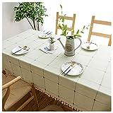 Mantel de Mesa con Borlas Rectangular,70x120cm Mantel de Algodón y Lino Impermeable Antimanchas, para la decoración del Buffet de la Mesa del Comedor de la Cocina,Verde