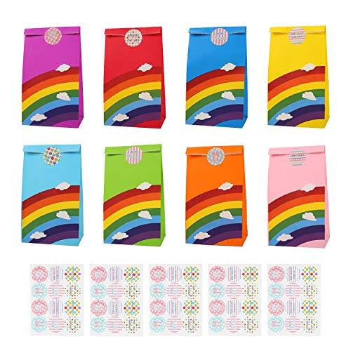 Ulikey 48 Stück Papier Regenbogen Partytüten Candy Tüten, Geschenktüten Bunt mit 60 Aufklebern kleine, Papiertüten Papiertasche für Party Babyparty Hochzeit Geburtstag Geschenk