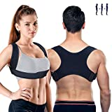 PORTHOLIC Posture Corrector for Men and Women, Newest Updated 2 Wear Mode, Adjustable Upper Back Brace Straightener for Clavicle Support, Providing Pain Relief From Neck Back Shoulder (Chest: 26~45')