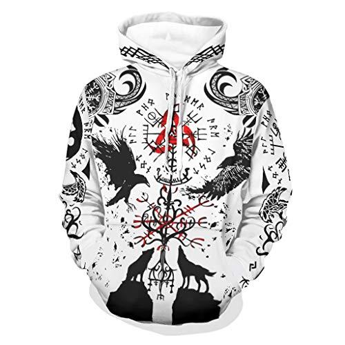 Bannihorse Sudadera con capucha para hombre, suave y cómoda, parte superior de otoño, color blanco, talla 3XL