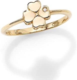 14k Yellow Gold 0.005ct 1 Millimeters Diamond 4 Leaf Clover Ring, Size 7