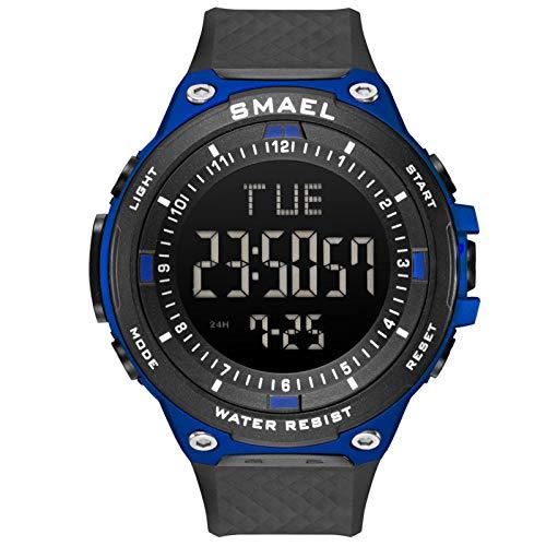QZPM Relojes Digital Deportivos para Hombre, De Analógico Resistente Al Agua Digital Grande De La Cara Militares Relojes Electrónicos con Retroiluminación,Azul