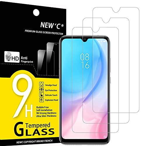 NEW'C 3 Pezzi, Vetro Temperato Compatibile con Xiaomi Mi A3, Pellicola Prottetiva Anti Graffio, Anti-Impronte, Durezza 9H, 0,33mm Ultra Trasparente, Ultra Resistente
