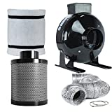 TopoLite 4' Inline Fan Carbon Air Filter Fan Ducting Combo for Grow Tent Kit and Growing System