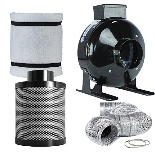 TopoLite 4' Inline Fan Carbon Air Filter Ducting Combo for Grow Tent Exhanst Kit and Hydroponic Indoor Plants Growing System