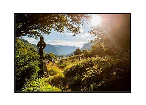 Old Celtic Cross in Glendalough, Wicklow mountain, Ireland A-9003251 (18x12 Framed Gallery Wrapped Stretched Canvas)