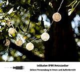 CozyHome LED Lampion Lichterkette außen mit Timer - 7 Meter | Mit Netzstecker NICHT batterie-betrieben | auch für Innen | 20 LEDs warm-weiß | Kein lästiges austauschen der Batterien | LED Lampions - 3
