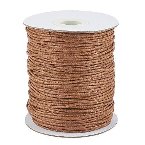 1,5 mm 100yards/rollo de hilo de algodón encerado cuerda para bricolaje joyería collar pulsera artesanía macramé hacer silla de montar marrón