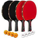Ping Pong paddle set of 4 rackets with 8 balls - This Table Tennis Paddles set with accessories and portable...