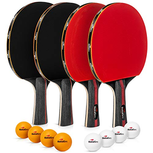 Ping Pong Paddle Set of 4 Rackets with 8 Balls  This Table Tennis Paddles Set with Accessories and Portable Carry case is Perfect for Professional Play and Amateurs  for Indoor or Outdoor use